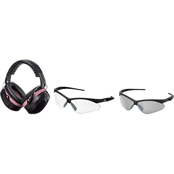 AmazonBasics Safety Ear Muffs Ear Protection, Black and Pink, and Safety Glasses, Clear Lens and Smoke Lens (Color: Black and Pink)