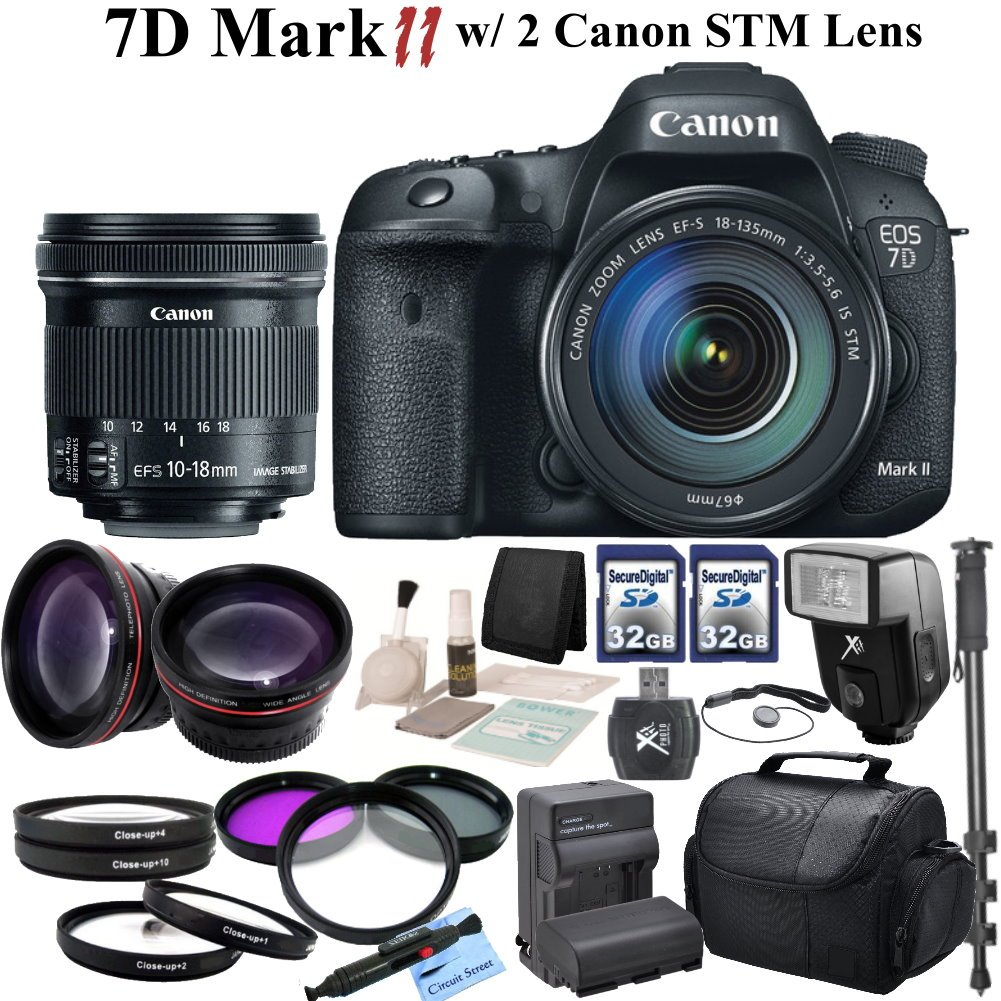 Canon EOS 7D Mark II Digital SLR Camera With Canon EF-S 18-135mm f/3.5-5.6 IS STM Lens & Canon EF-S 10-18mm f/4.5-5.6 IS STM Lens & CS Pro Kit: Includes High Definition Wide Angle Lens ..