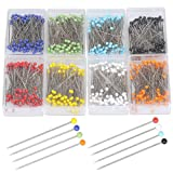 Color Scissor 800pcs Sewing Pins, 37mm Multicolor Ball Glass Head Pins Straight Quilting Pins for Dressmaker Jewelry Craft Decoration with Transparent