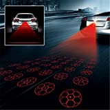 Heart Horse Universal LED Car Motorcycle Laser Fog Light Anti Collision Tail Lamp Auto Motor Braking Parking Signal Warning Lamps (Color: Football, Tamaño: Football)