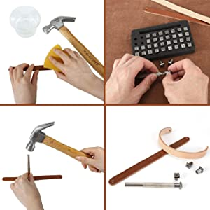 Yoption 37 Pieces Leathercarft Stamping Tool Set, 26 Letters Alphabet & 10 Numbers Stamps Steel Punch Tool 3mm+1 Stamping Handle for Leather Craft (Tamaño: 3mm+6mm)