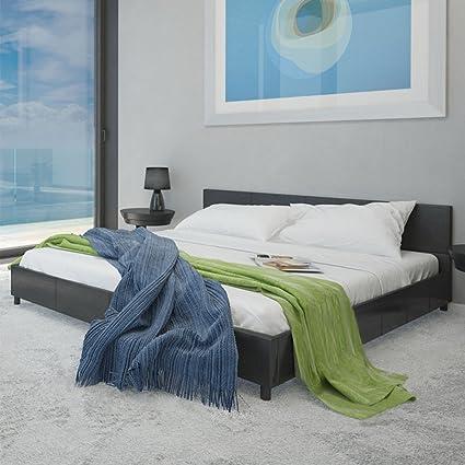 Anself Polsterbett Doppelbett Ehebett Gästebett Bett aus Kunstleder 180x200cm mit Matratze Schwarz