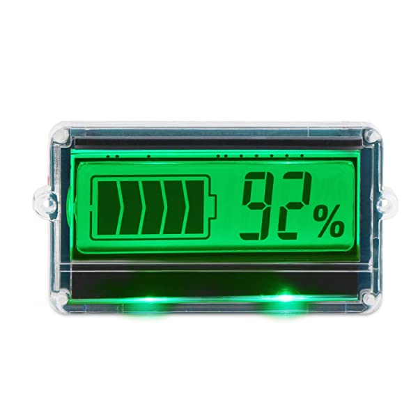 DROK DC8-63V Digital Battery Capacity Tester Indicator, Two Wires 12V/24V/36V/48V Lead Acid Battery Monitor with Protective Shell Green LCD Display (Tamaño: Capacity Meter with Protective Shell)