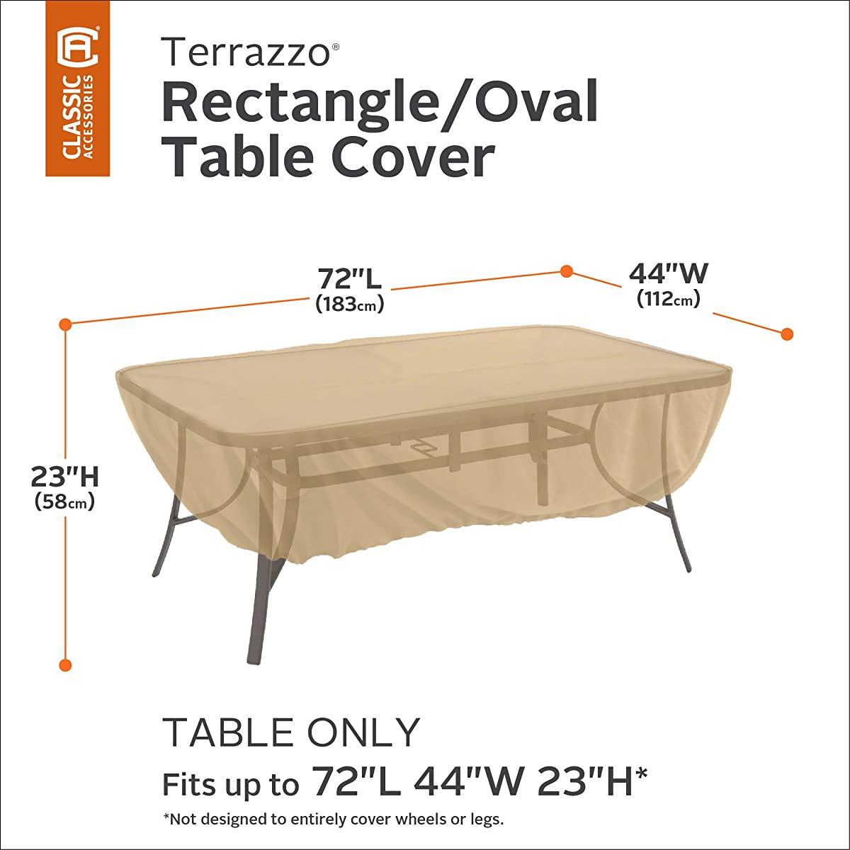 Classic Accessories Terrazzo Rectangular/Oval Patio Table Cover - All Weather Protection Outdoor Furniture Cover (58242-EC)