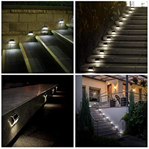 [12 Pack]iThird Solar Powered Step Lights LED Solar Deck Lights Outdoor Daylight Stainless Steel Decoration for Stair Fence Path Auto ON/Off Weatherproof Upgrade (Color: Daylight, Tamaño: steplight-12pack-daylight)