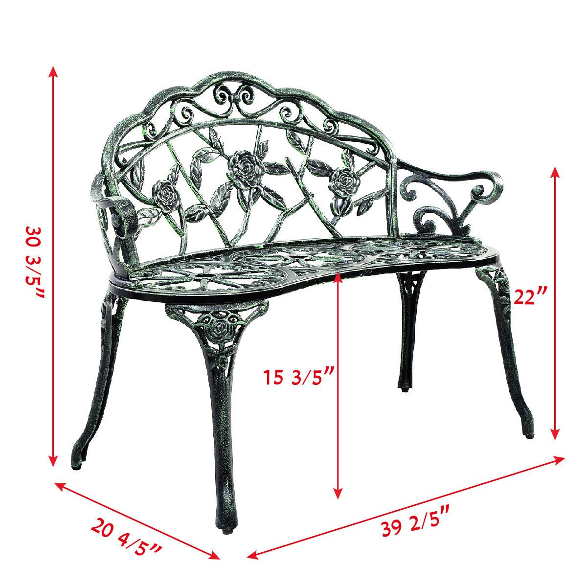 Giantex Patio Garden Bench Chair Style Porch Cast Aluminum Outdoor Rose Antique Green 1