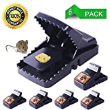 fibevon Mouse Trap, Rat/Mice Trap That Work Humane Power Rodent Killer 100% Mouse Catcher [Quick & Effective & Reusable & Sanitary] Safe for Families and Pet - 6 Pack (Color: Black)