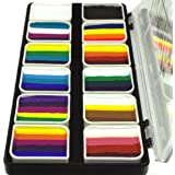 Face Paint Palette Rainbow Split Cakes for One Stroke technique with 12 Popular Professional Color Blocks from Kryvaline Face and Body Art Designed for Children and Face Painting Beginners (Color: White)