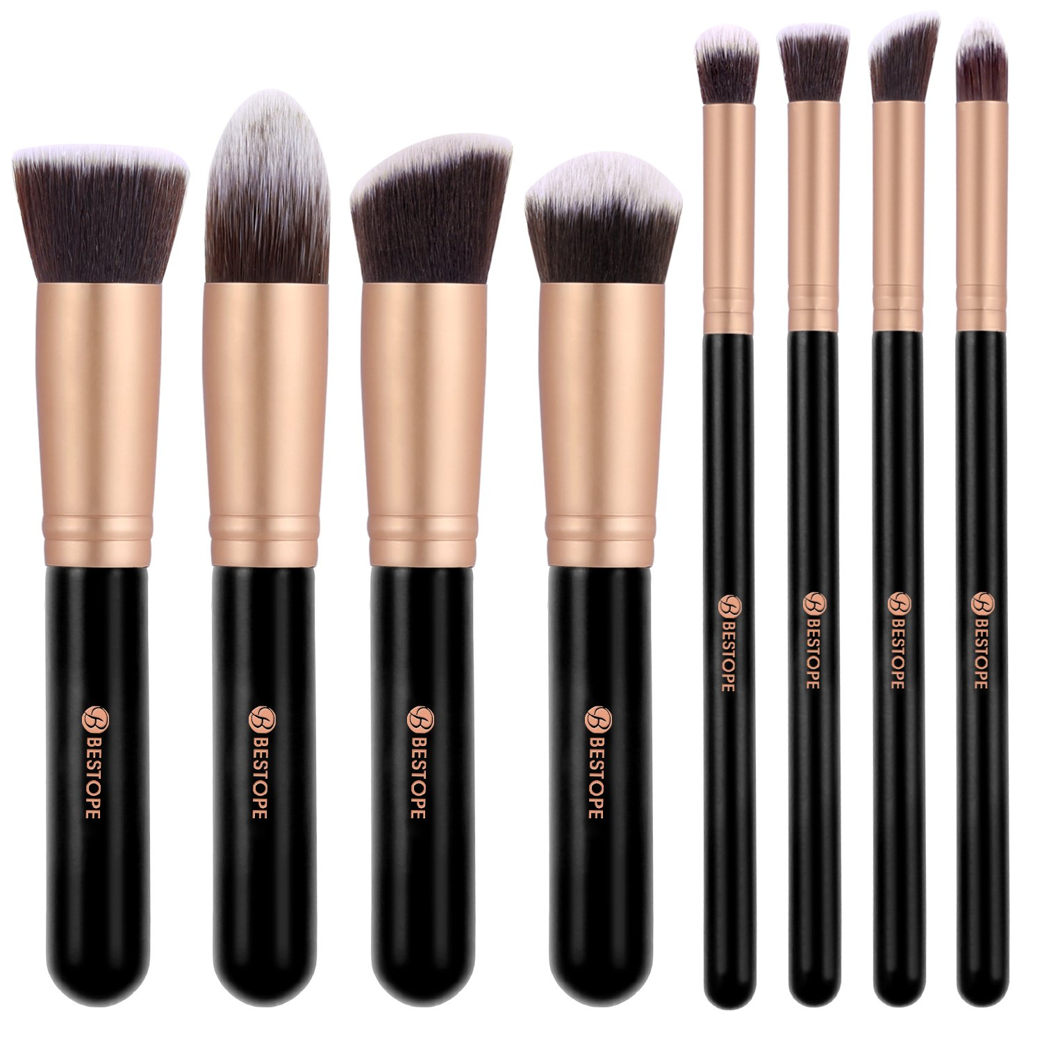 BESTOPE Makeup Brushes Premium Cosmetics Brush Set (Updated Version)Synthetic Kabuki Makeup Brush, Foundation, Blending Blush, Eyeliner, Face Powder Brush Kit(8PCs, Rose Gold)