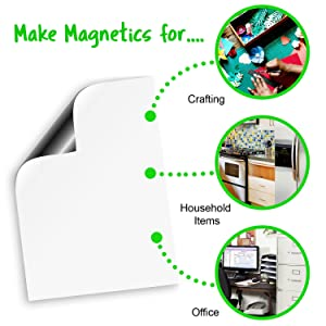 Craftopia Magnetic Roll | 24 x 10' | Car Safe for Vehicles | 25 mil Strong Magnet Sheet Flexible Roll | White Material | 2 feet x 10 feet | Cut w/Scissors or Cricut, Silhouette Cameo, Craft Cutter (Color: White, Tamaño: 25 mil)
