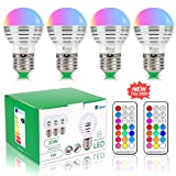 NetBoat LED Color Changing Light Bulb Dimmable 3W,E26/E27 RGB LED Light Bulbs Mood Ambiance LED Bulb with IR Remote Control for Living Room Dinning Room Decoration Bar Party KTV Mood Lighting,4 Pack (Color: 4 Pack)