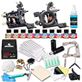Dragonhawk Complete Tattoo Kit 2 Coils Tattoo Machines Shader Machine Liner Machine Power Supply Immortal Inks Needles Grips Tips 2-5 (Color: Coils T2)