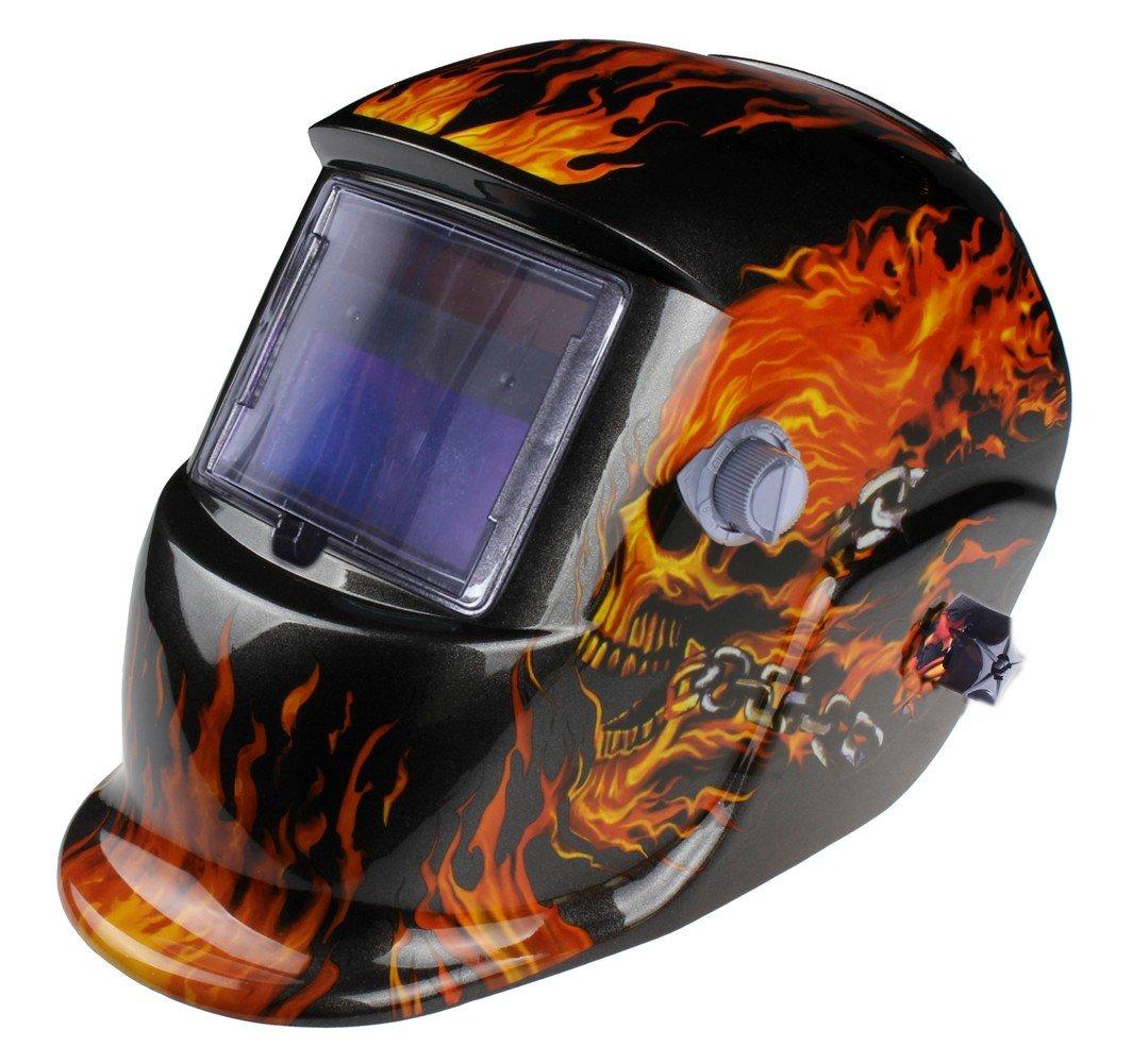 Urparcel Welding Helmet - Flames / Skull - Auto-Darkening - Solar/C.P.S