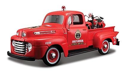 Maisto - 2043058 - Maquette De Voiture - Ford F-1 Pickup '48 + El Knucklehead '36 - Rouge - Echelle 1/24