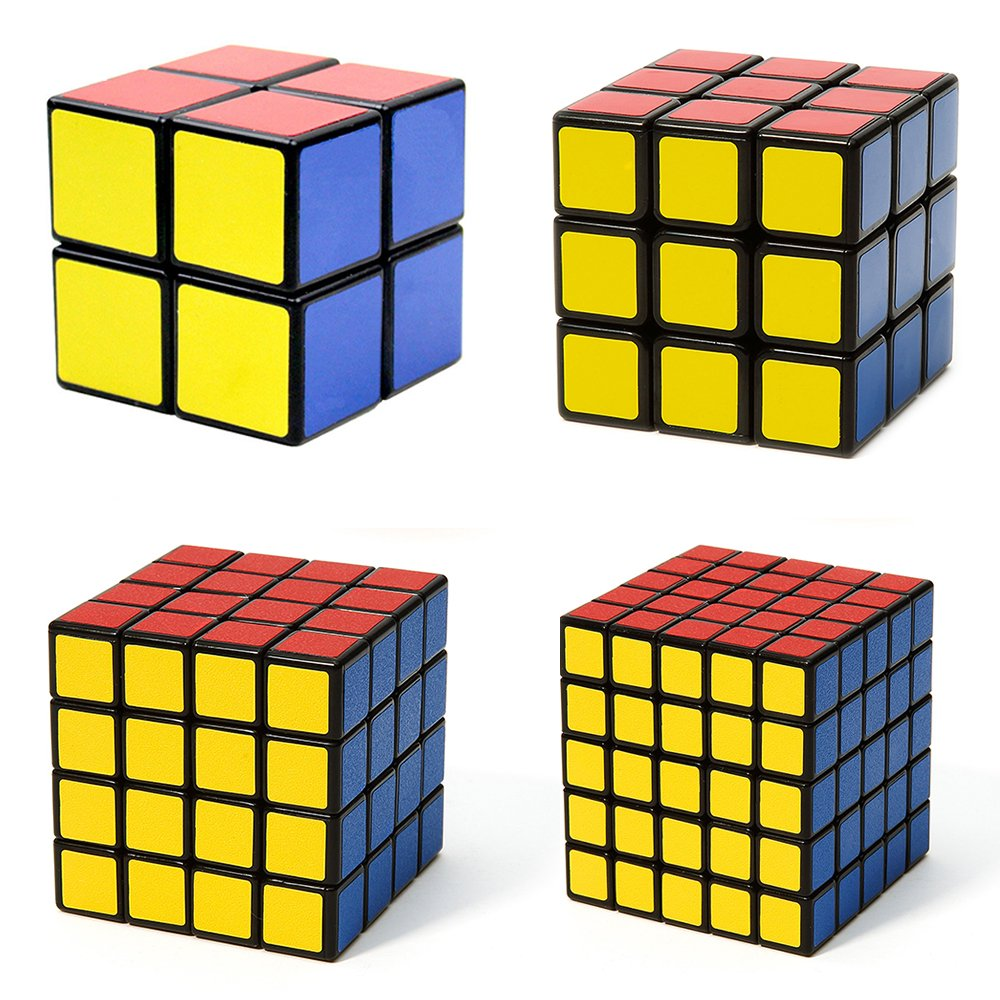 Popular Magic Cube Puzzle Bundle Pack - 2x2x2,3x3x3,4x4x4,5x5x5 Set - Speed Cube Collection (4-Pack, Black)