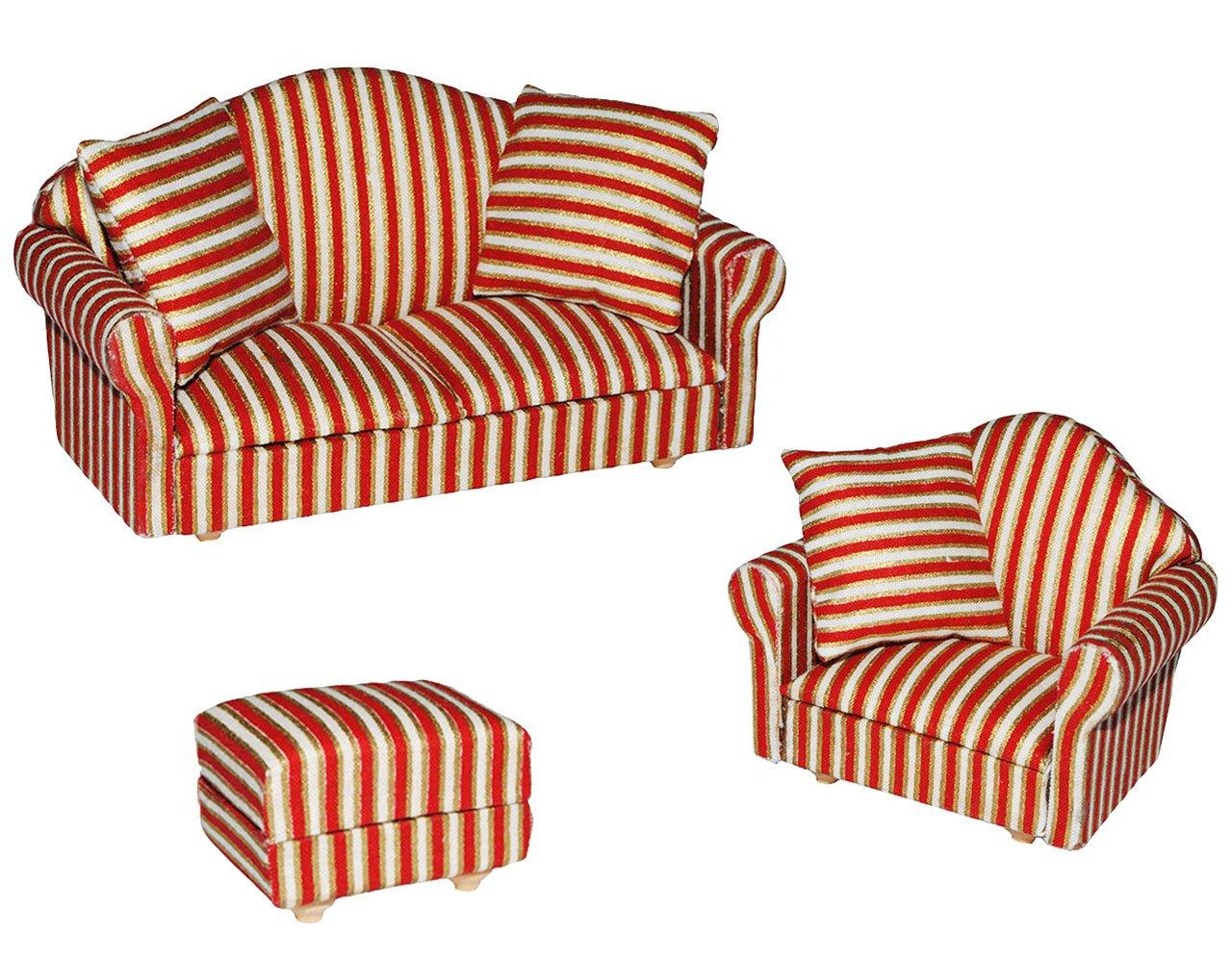 3 tlg. Set: Miniatur Wohnlandschaft / Sofa Couch + Sessel + Hocker mit Kissen – für Puppenstube Maßstab 1:12 – rot weiß golden – gestreift – Puppenhaus Puppenhausmöbel Sessel Wohnzimmer Klein – für Wohnzimmerlandschaft – Puppensofa – Möbel – Miniatur Diorama kaufen