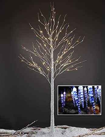 Lightshare White LED Birch Tree, 8-Feet with Free Blue Twinkling Icicle Strand