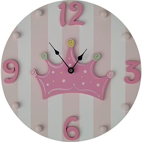 Pink & White Striped Wooden Hand Painted Princess/Crown Kids Wall Clock More Colors Available!