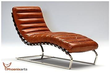 Chaise Echtleder Vintage Leder Relaxliege Design Recamiere Liege Sessel Chaiselongue Ledersessel NEU 536