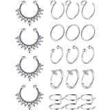 Blulu Fake Nose Ring Hoop Set Stainless Steel Nose Lip Ear Ring Piercing Jewelry Septum Ring Non-Pierced Clip On Cartilage Cuff Body Jewelry, 19 Pieces Totally, 6 Styles (Steel Color) (Color: Steel Color)