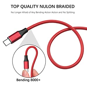 USB Type C Cable,Aioneus USB C Cable 2Pack 6FT Charger Cable Nylon Braid Fast Charging Cord USB A 3.0 to USB-C Charging Cable for Samsung Galaxy A50/A70/S8/S9/S10/A20/A10e/Note 10/9/8,LG Stylo 5/4/V30 (Color: A-Red, Tamaño: 2 Pack 2M)