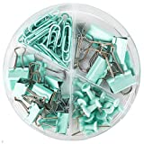 Paper Clips and Binder Clips Push Pins Set and Holder, Syitem Non-Skid Map Tacks Thumbtacks Clips Kits with Container for Office School Home Desk Supplies, 172 PCS Assorted Sizes (Pale Blue) (Color: Pale Blue)