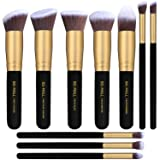 BS-MALL(TM) Makeup Brushes Premium Makeup Brush Set Synthetic Kabuki Cosmetics Foundation Blending Blush Eyeliner Face Powder Brush Makeup Brush Kit (10pcs, Golden Black) (Color: Golden Black)