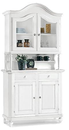 Vetrina in legno finitura bianco opaco, ante in vetro, con 2 porte e 2 cassetti 104x43 219H