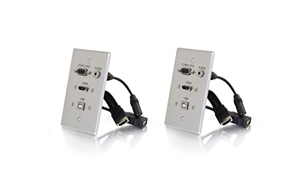C2G 39706 HDMI, VGA, 3.5MM Audio and USB Pass Through Single Gang Wall Plate (Aluminum, (2-Pack)) (Color: Aluminum, (2-pack))