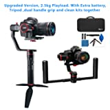 Feiyutech a2000 Upgraded Dual Grip Handle Kit for DSLR Camera, Foldable Handle,Compatible with NIKON/SONY/CANON Series Camera and lens, 2.5KG Payload, damping Sliding Arm including Tripod
