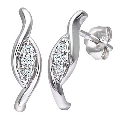 Naava Women's 9 ct White Gold 0.10 ct Diamond Fancy Earrings
