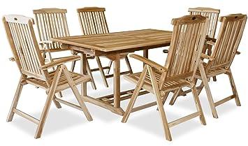 KMH®, Gartensitzgruppe mit ausziehbarem Gartentisch fur 6 Personen (ECHT TEAK) (#102206)