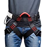 Weanas Thicken Climbing Harness, Protect Waist Safety Harness, Wider Half Body Harness for Mountaineering/Fire Rescuing/Rock Climbing/Rappelling/Tree Climbing (Color: Black)