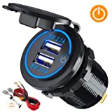 ?Upgraded Version?Car Charger with Switch, CHGeek 12V/24V 22W Waterproof 2.1A & 2.1A(4.2A)Dual USB Fast Charger Socket Power Outlet for Marine, RV, Boat, Motorcycle, Truck, Golf Cart and More (Color: 2.1A&2.1A with Switch)