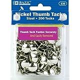 BAZIC Silver Thumb Tacks. 200 Push Pins for Crafts and Office Organization (Color: Silver, Tamaño: 1 Pack)