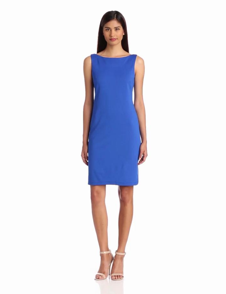 Isaac Mizrahi Womens Scoop Back Knit Sheath Dress, Roy, 10