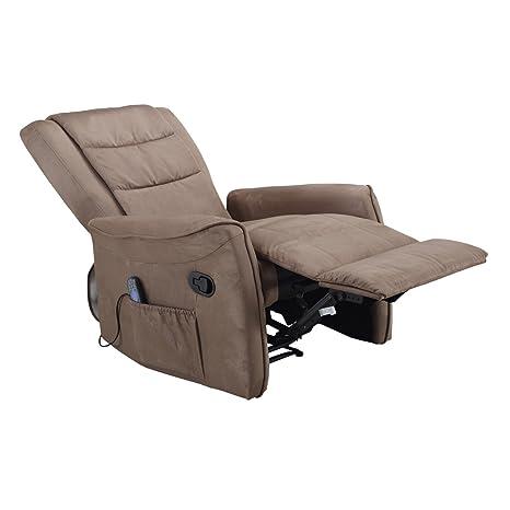 Shiatsu Massage Fernsehsessel Relaxsessel elektr. Mikrofaser braun