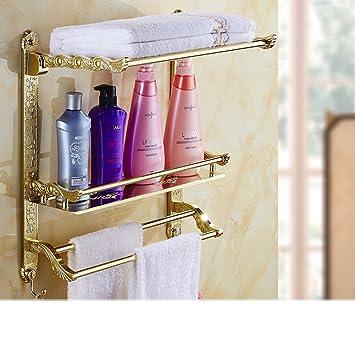 Continental vernice piegato portasciugamani/Gold Plus bianchi Ripiani/Retro bagno portasciugamani/Con bipolare doppia-O