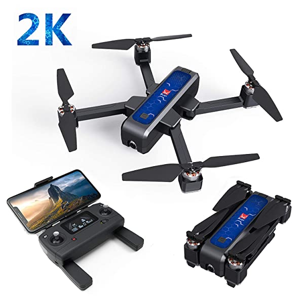 Aoile MJX B4W GPS 5G WiFi FPV with 2K Camera 25mins Flight Time Brushless Selfie RC Drone Quadcopter Black Blue 1 Battery (Color: Black Blue)