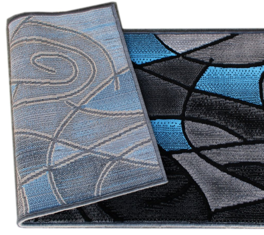Masada Rugs, Modern Contemporary Runner Area Rug, Blue Grey Black (2 Feet X 7 Feet)