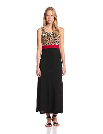 Star Vixen Women's Sleeveless Print Colorblock Maxi Dress, Leopard Red/Black, Small