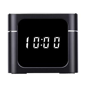 Clock Spy Camera - VKBAND Hidden Camera in Clock - Wireless Speaker WiFi Hidden Cameras Wireless IP Camera for Indoor Home Security Monitoring Nanny Cam Night Vision Motion Detection - Black (Color: Black)