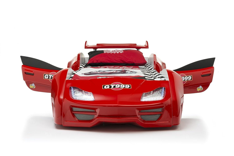 Das Beste Autobett Kinderbett GT 999 in rot mit Türen LED komplett Lattenrost Sound Fernbedienung von Möbel-Zeit online kaufen