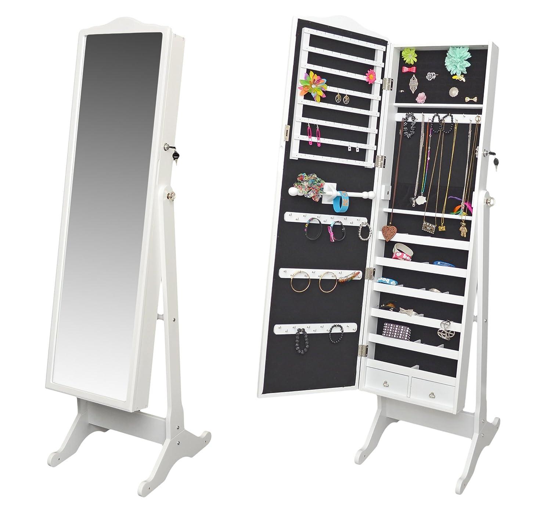 Miroir range bijoux for Grand miroir blanc pas cher
