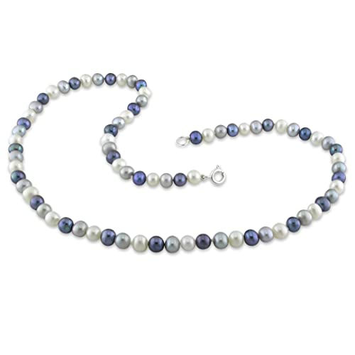 Freshwater Black, White and Grey Pearl Single Row Necklace