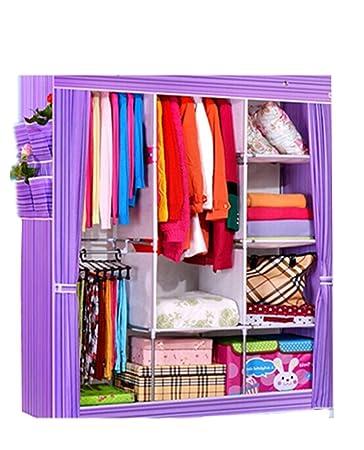 XSH Simple Wardrobe, Large Wardrobe, Large Capacity Wardrobe, Non-woven Fabrics Folding Wardrobe, Wardrobe, Wardrobe Closet Dustproof, Anti Mildew (Purple)