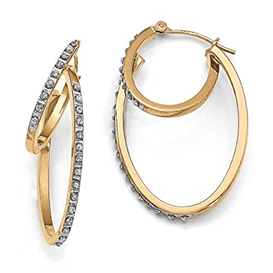 14ct Gold Rough Diamond Fascination Hinged Double Hoop Earrings