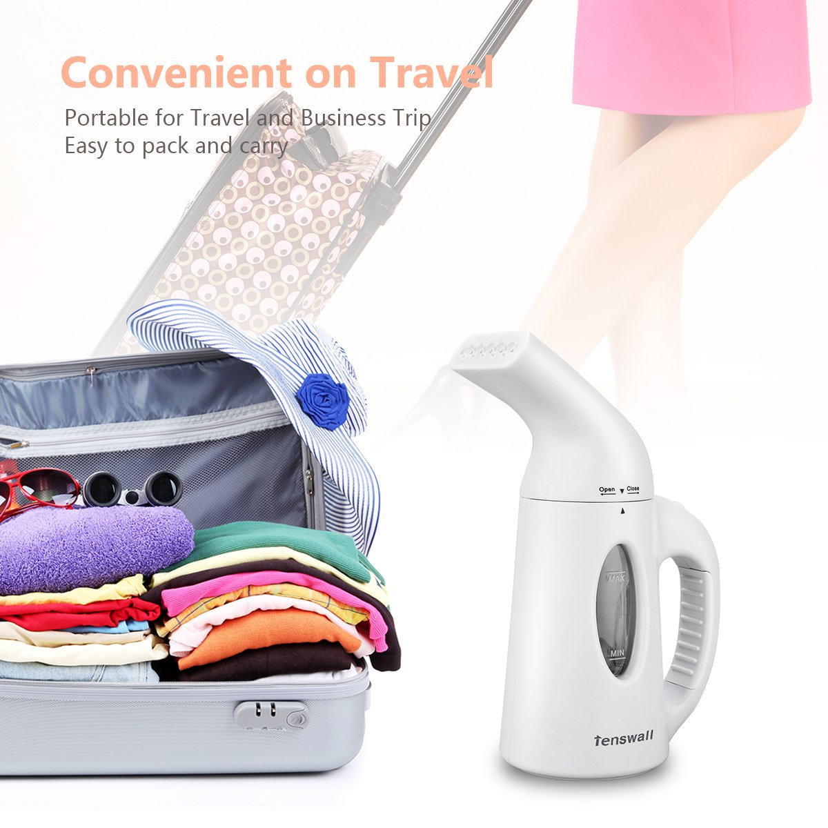 Tenswall Portable Garment Steamer, Handheld Fabric Steamer For Clothes - 2 Min. Heat-up Premium Clothes Steam Cleaner, 120ml Capacity Compact Travel Garment Clothes Steamer Perfect For Home & Travel