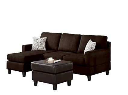 ACME 05907 Reversible Chaise Sectional, Dark Chocolate