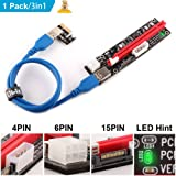 Ubit Multi-Interface PCI-E Riser with Led Notice Function Express Cable 1X to 16X Graphics Extension Ethereum ETH Mining Powered Riser Adapter Card+60cm USB 3.0 Cable (Color: 3in1 PCI-E Riser Adapter Card+60cm USB 3.0 Cable-1 Pack, Tamaño: 3m/1)